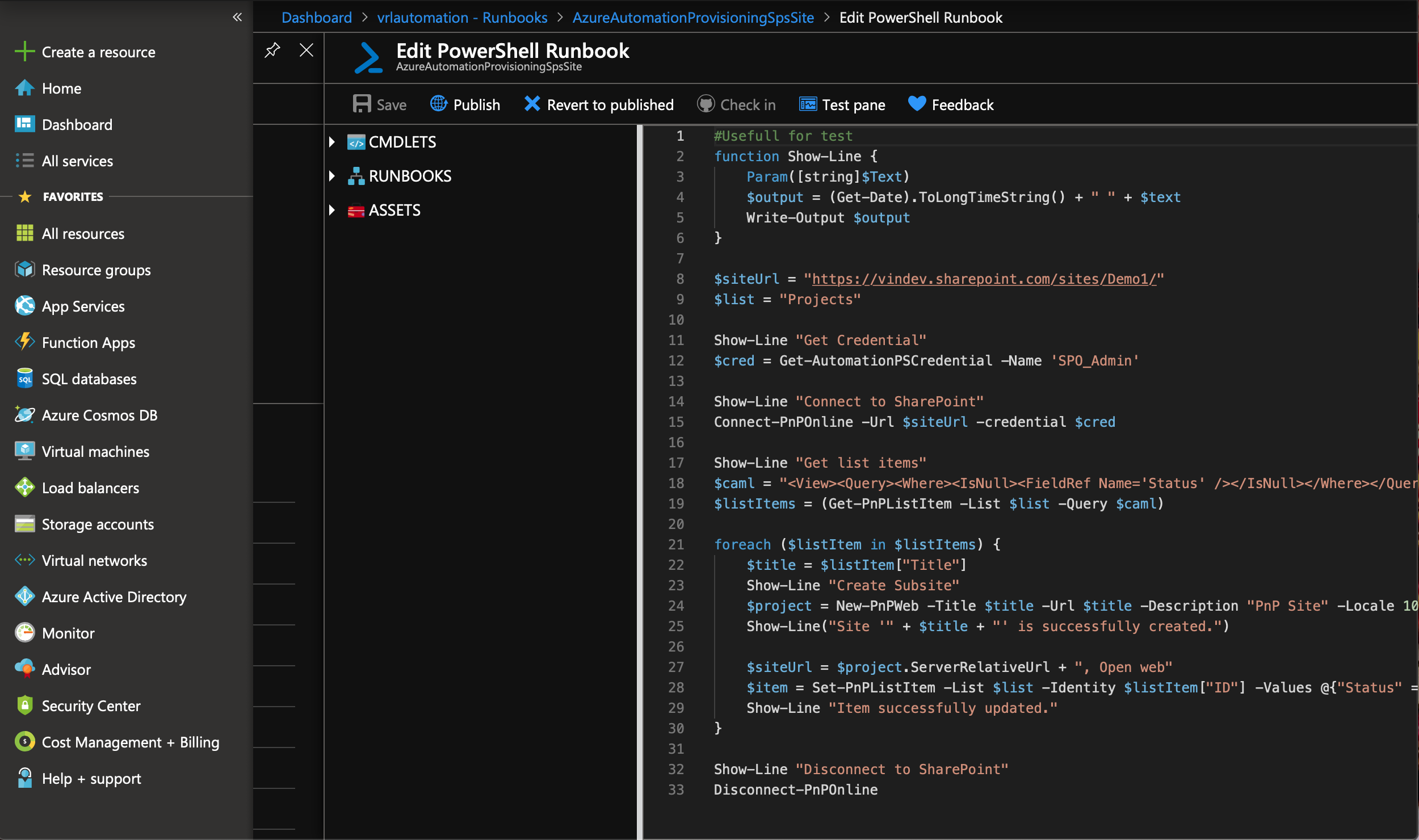 Provisioning SharePoint Site with Azure Automation and PnP-PowerShell