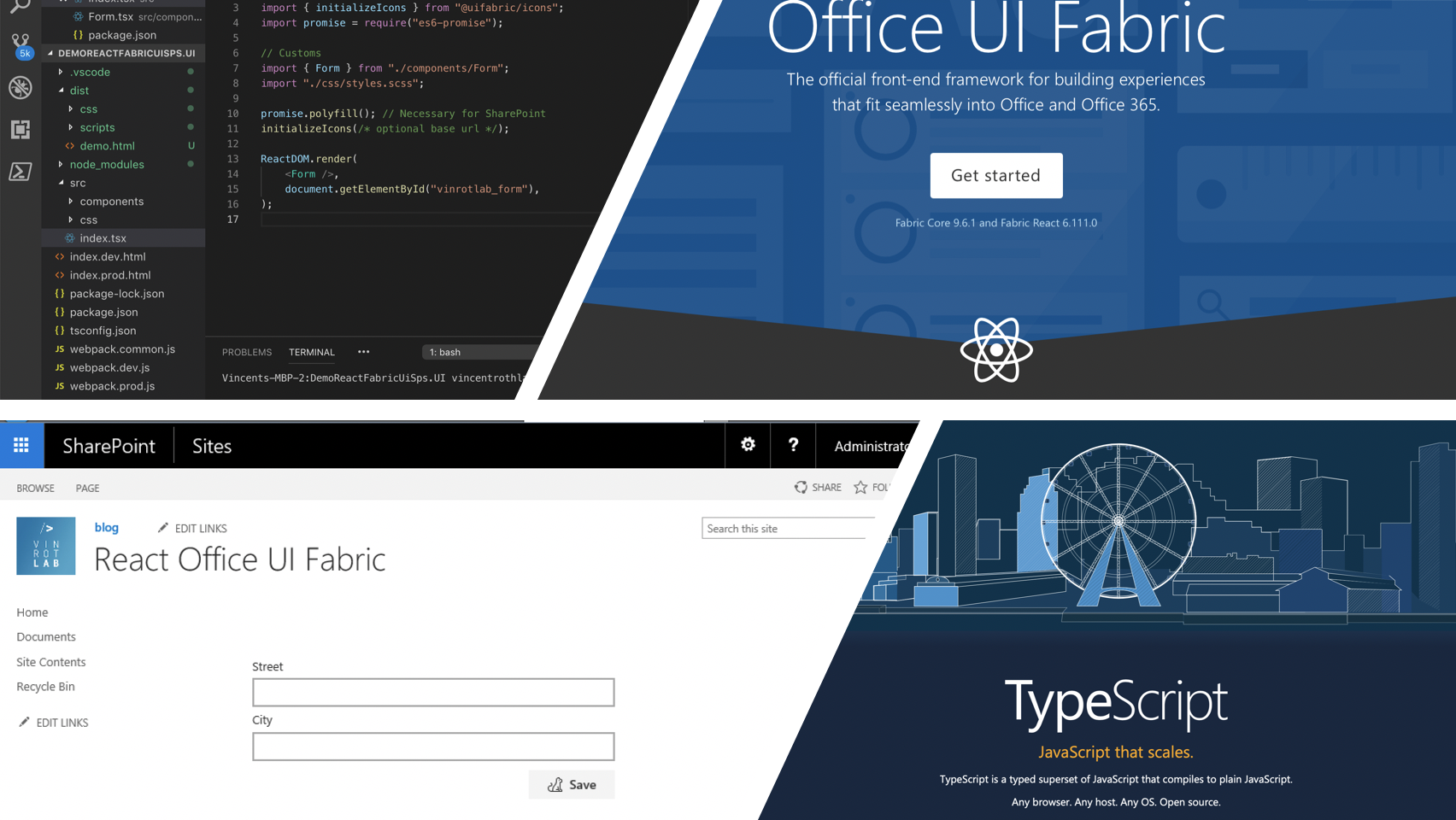 Development with React, Office UI Fabric and TypeScript for